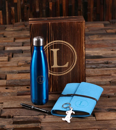 personalised notebooks and drink bottles